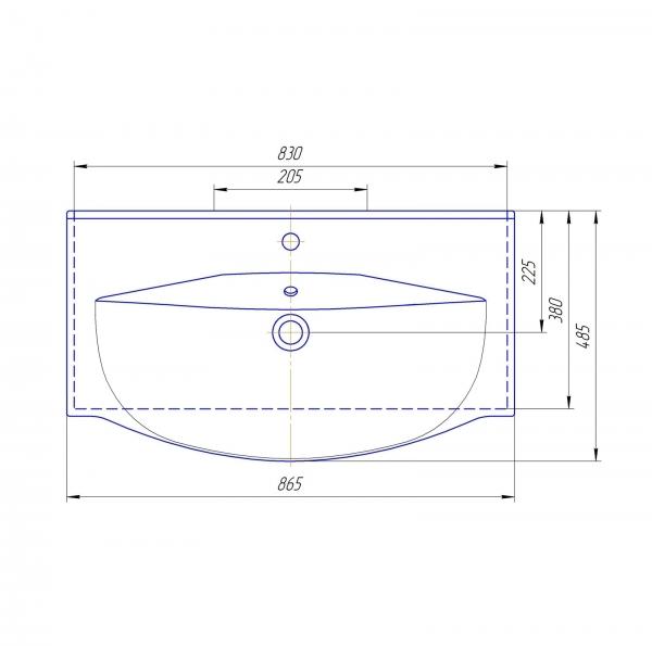 61.15(9) Тумба под умывальник 85 Фиджи с 2 ящ. подвесная (Blum)
