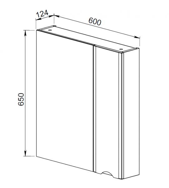 41.18 (1) Шкаф зеркальный 60 Латтэ