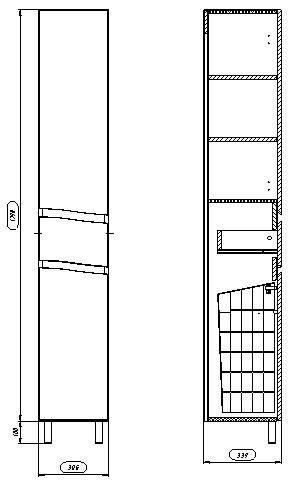 61.12 Шкаф 35 Фиджи напольный с корзиной L/R